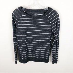 Loft Sweater Gray White Striped Crew Neck Size XS